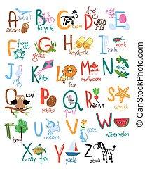 El alfabeto de niños dibujados a mano