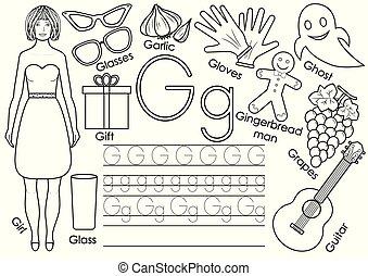 El alfabeto inglés. Practicando. Juego educativo para niños. Libro de color.