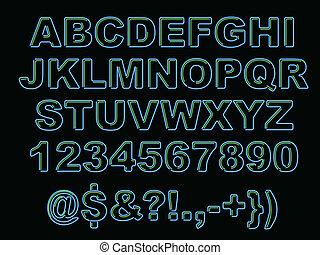 El alfabeto Neon audaz