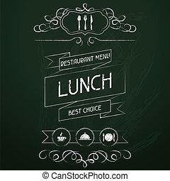 El almuerzo en el menú del restaurante.