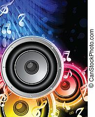 El altavoz con notas musicales en el círculo del arco iris de neón