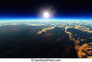 El amanecer de la Tierra desde el espacio exterior