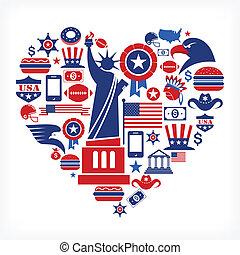El amor americano, forma de corazón con muchos iconos vectores
