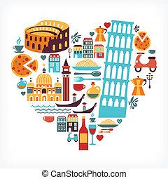 El amor de Italia, forma de corazón con iconos vectores