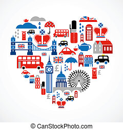 El amor de Londres, corazón con muchos iconos vectores