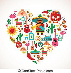 El amor de México, corazón con un conjunto de iconos vectores
