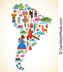 El amor de Sudamérica, ilustración del concepto con iconos vectores