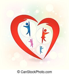El amor familiar da protección al vector de logo