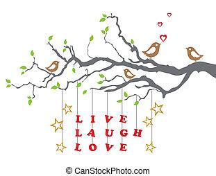 El amor vivo en una rama de árbol