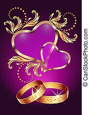 El anillo de bodas y dos corazones