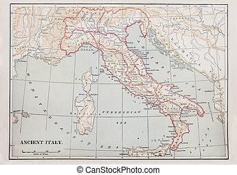 El antiguo mapa de Italia