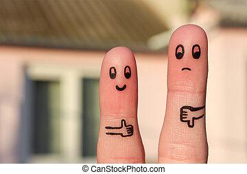 El arte de los dedos de la pareja.