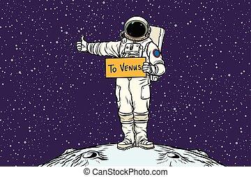 El astronauta viaja en autostop en Venus