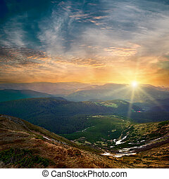 El atardecer de la montaña Majestic