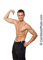 El atleta muestra bíceps