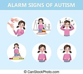 El autismo firma información para un padre. Trastorno de salud mental