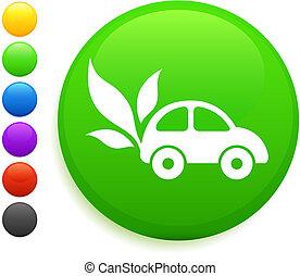 El auto y el icono de la hoja en el botón de Internet