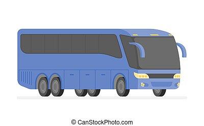 El autobús de la esquina de la ilustración del vector de carretera