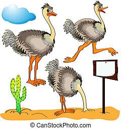El avestruz de la ilustración corre, cubre la arena de la cabeza y los costos en las nubes de fondo y cactus