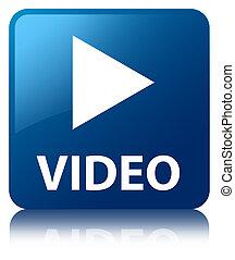 El azul brillante de video reflejó el botón cuadrado