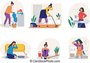 el bañarse, limpieza, plano, utensilios, diario, actividades, infeliz, lavado, estilizado, niños, quehacer doméstico, caracteres, triste, niña, rutina, aislado, woman., madre, vector, reciente, planchado