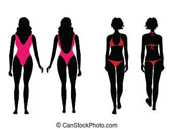 el bañarse, mujeres, siluetas, traje