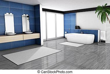 El baño azul interior