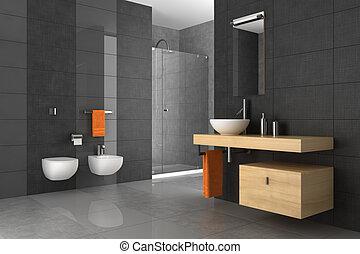 El baño está atado con muebles de madera