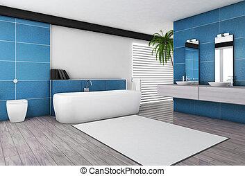 El baño moderno interior acuático