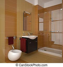 El baño naranja moderno