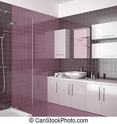 El baño púrpura moderno