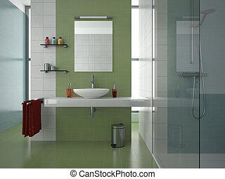 El baño verde moderno