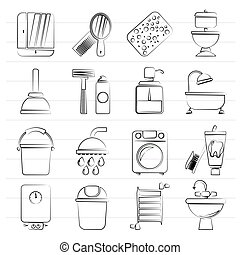 El baño y la higiene objetan íconos