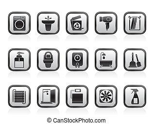 El baño y los iconos del baño