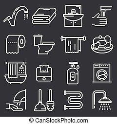 El baño y los iconos del baño listos