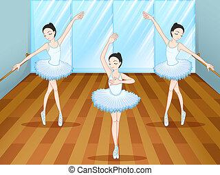 el bailar del ballet clásico, dentro, bailarines, tres, estudio