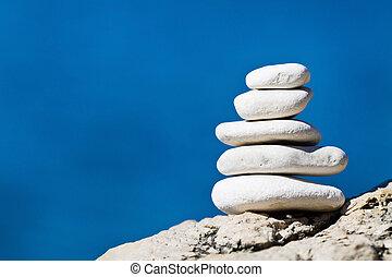 El balance de la pila de piedra