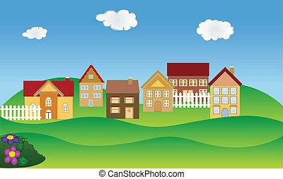 El barrio residencial en primavera
