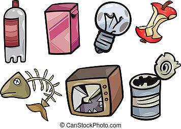 El basurero objeta la ilustración de dibujos animados