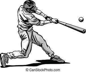 El bateador de béisbol lanza vecto