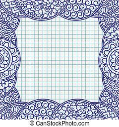 El bolígrafo dibujado al estilo de adornos japonés, papel de cuaderno escolar