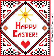 El bordado de Pascua con sol y corazón