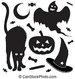 El bosquejo de objetos de Halloween