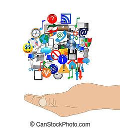 El brazo humano sostiene muchos iconos web 24.06.13