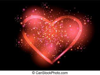 El brillante corazón de San Valentín. Ilustración de vectores