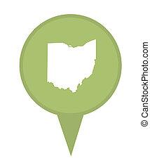 El broche del mapa de Ohio