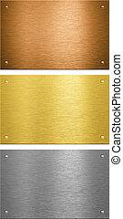 El bronce de bronce de aluminio cosió placas de metal con remaches