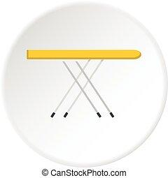 El círculo de iconos de la tabla de planchar