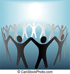 El círculo de la gente se toma de la mano bajo un punto brillante en azul