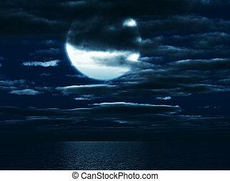 El círculo de la luna en la oscuridad en un fondo del cielo marino y las nubes